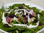 We topped the salads off with some pinenuts, dried cranberries, and blue cheese dressing.