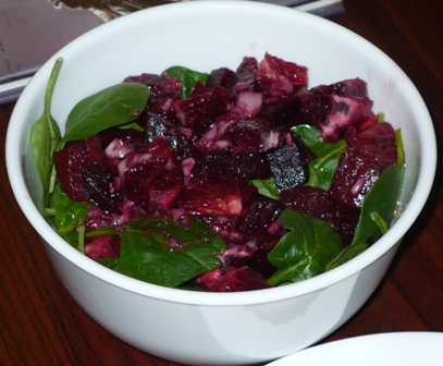 salad dressed with the vinaigrette – made from fresh squeezed blood ...